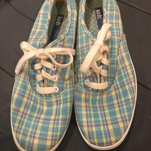 Keds Turquoise Plaid tennis shoes size 7.5